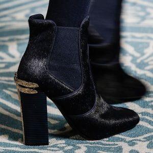 Navy Blue Pony Hair Theodora Ankle Ladies Booties